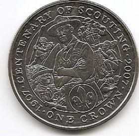 100 лет скаутскому движению 1 крона Остров Мэн 2007