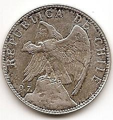 50 сентаво  Чили 1902 серебро