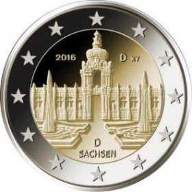 Цвингер - дворцово-парковый комплекс в Дрездене (Саксония) 2 евро Германия 2016 монетный двор на выбор