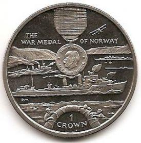 Медаль война в Норвегии Серия Награды Второй мировой войны 1 крона Остров Мэн 2004