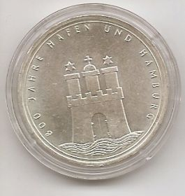 800 лет городу-порту Гамбург 10 марок ФРГ 1989 J