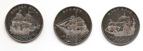 Знаменитые Парусники Набор монет 1 доллар Острова Гилберта 2015 (3 серия монет)