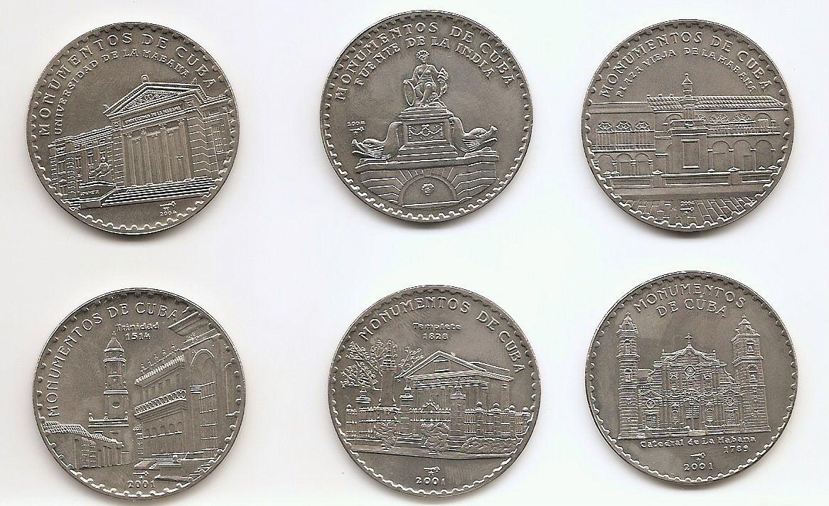 Монументы Кубы 1 песо Куба 2001-2004 Набор из 6 монет